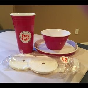 2/$18 New Plastic Party Cup, lids, bowl and plate